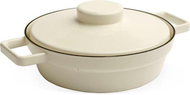 Cream RIESS Lidded Pan, Large