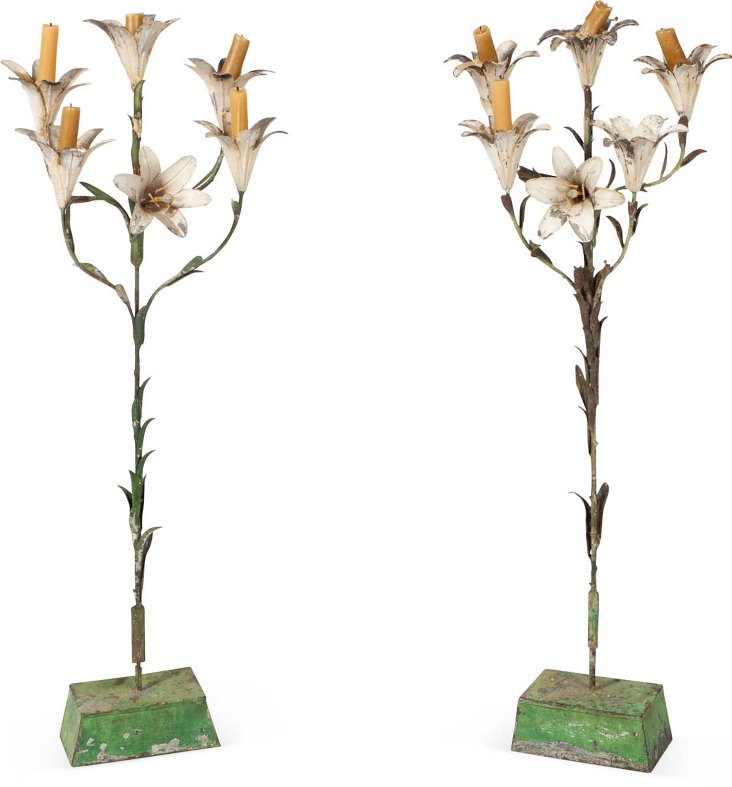 Antique Floral Candleholders, Pair