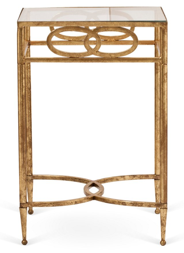 Brady Side Table, Antiqued Gold