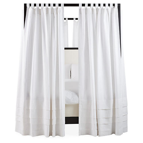 S/8 Nessa Canopy Bed Curtains, White Linen
