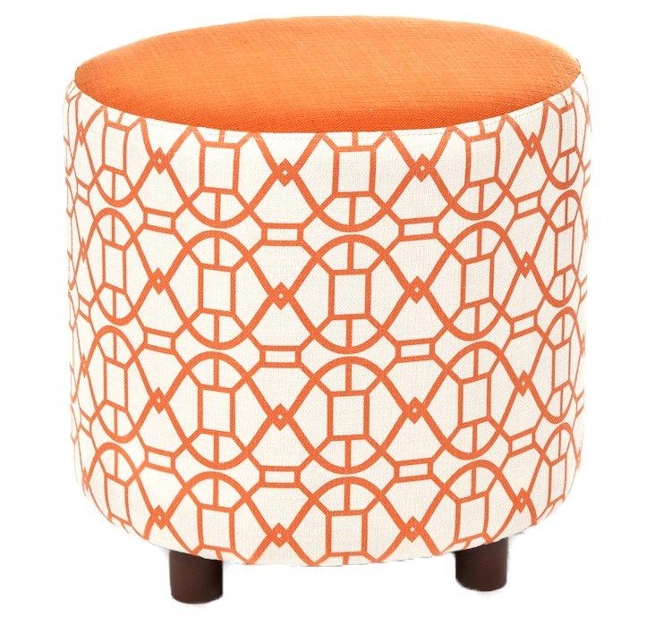 Chelsea Round Ottoman, Orange