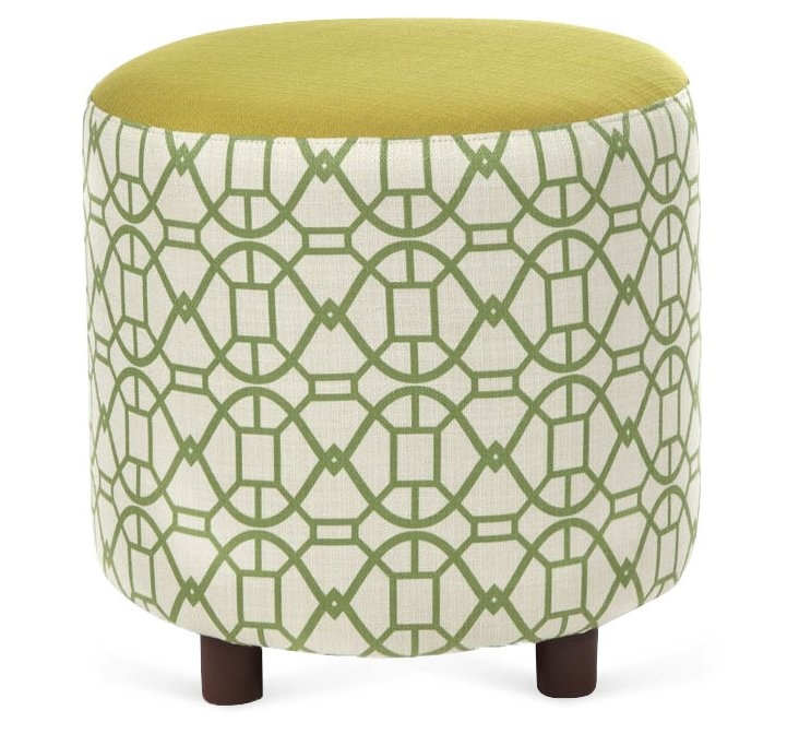 "Chelsea 19"" Round Ottoman, Chartreuse"