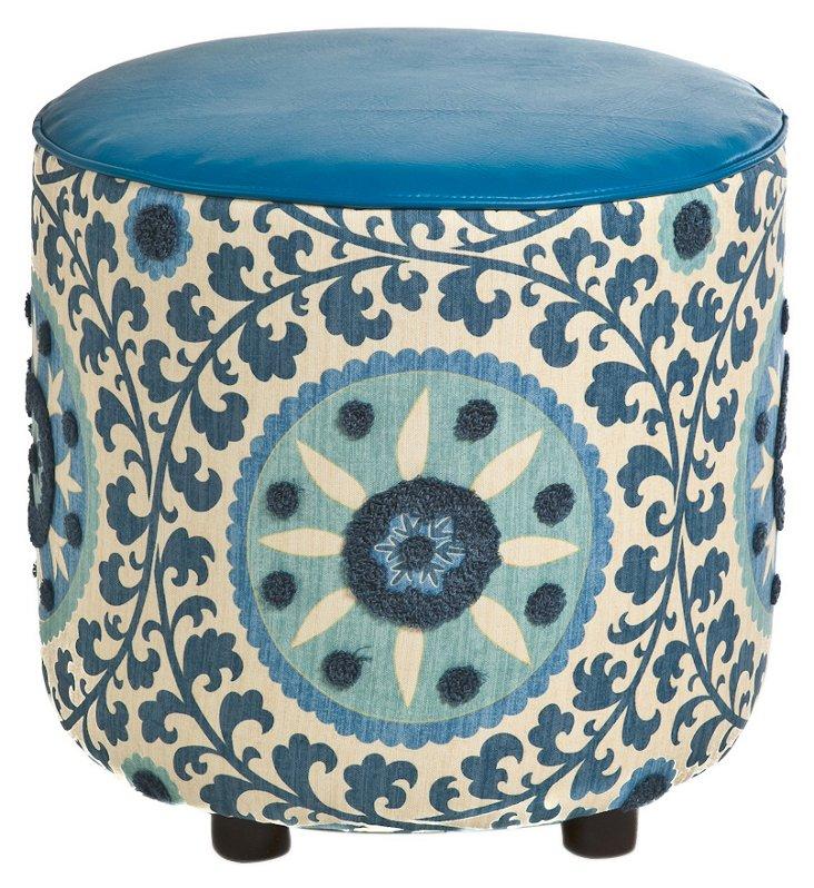 """Natalie 19"""" Round Cotton Ottoman, Blue"""