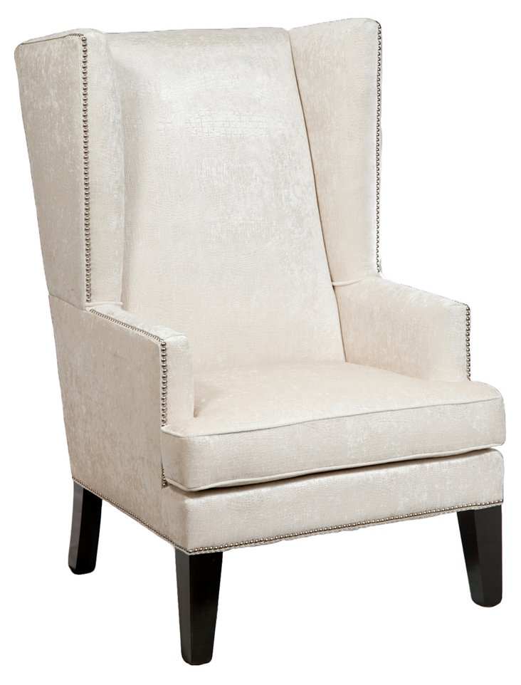 James Wingback Chair, Cream