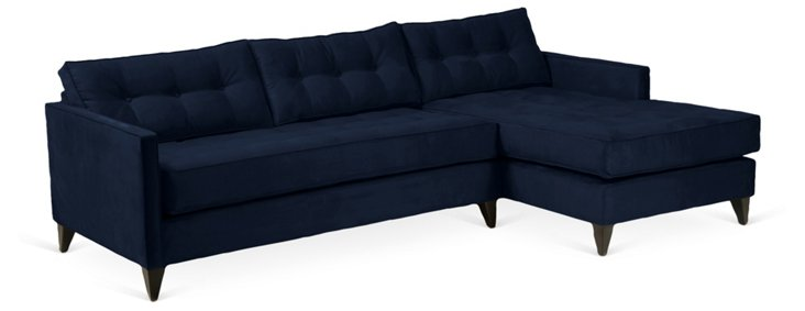 Jason Right-Facing Tuft Sectional, Navy