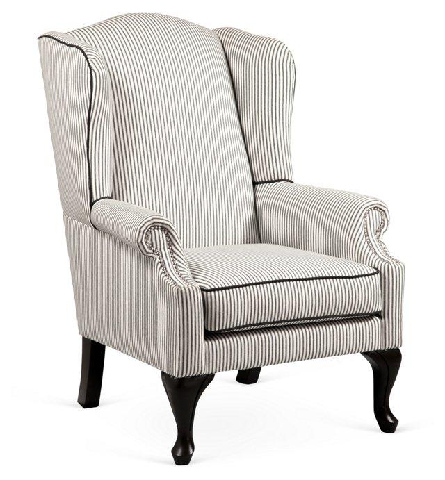 Georgia Wing Chair, Black/White