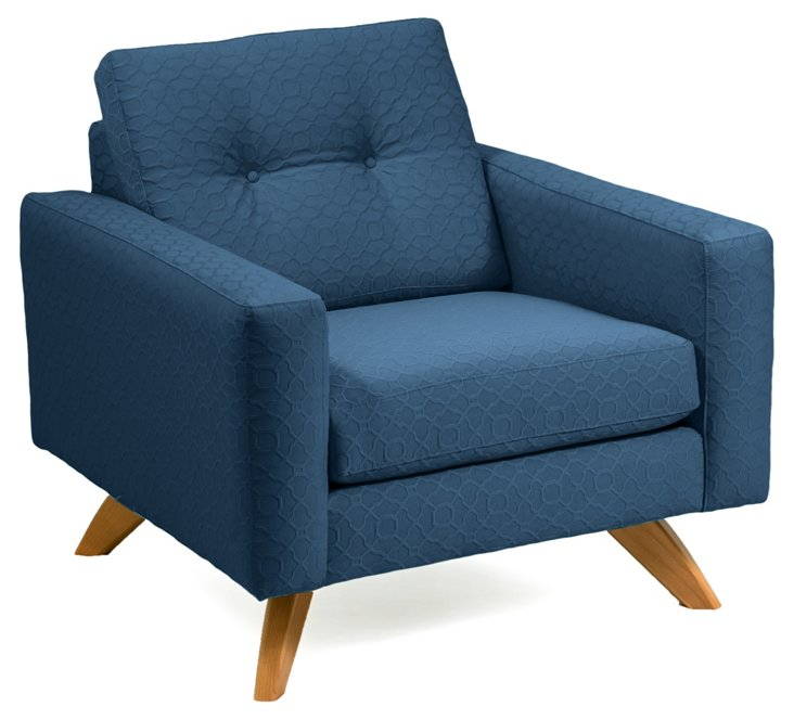 Sarah Tufted Chair, Blue