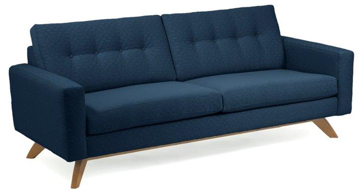 """Sarah 83"""" Button-Tufted Sofa, Navy"""