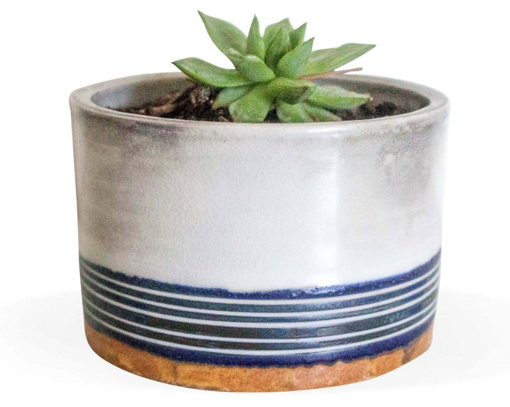 Indigo & Burnt Orange Carved Planter