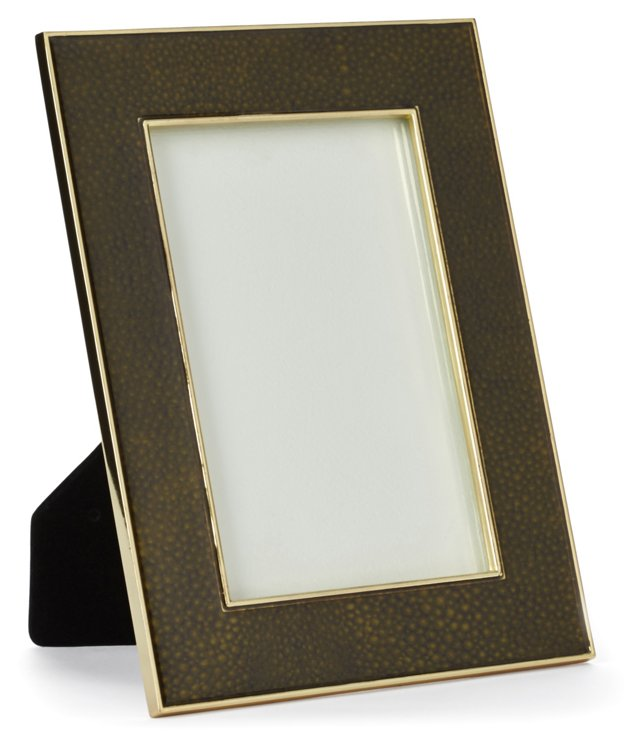 Shagreen & Metal Frame, 4x6, Green