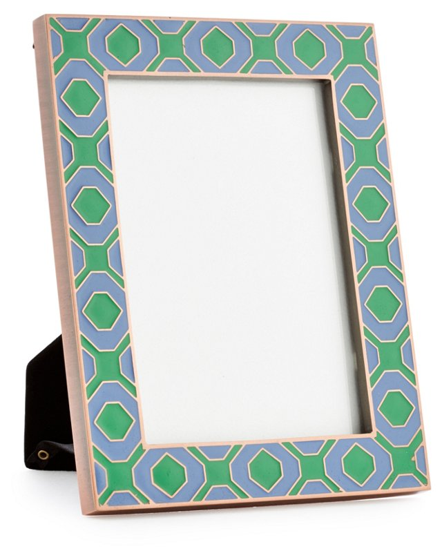 Geometric Metal Frame, 5x7, Blue/Green