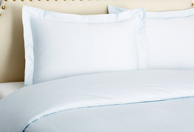 King Classic Percale Duvet Set, Ice Blue