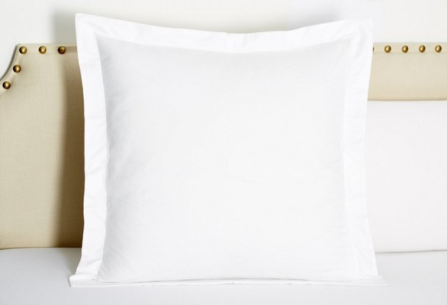 Hemstitch Sateen Euro Sham, White
