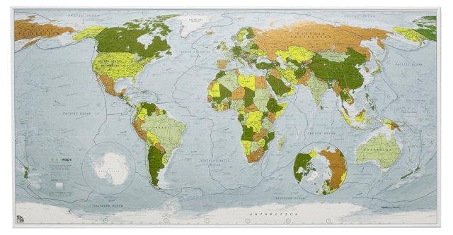 Colour Version 1 World Map, Magnetic