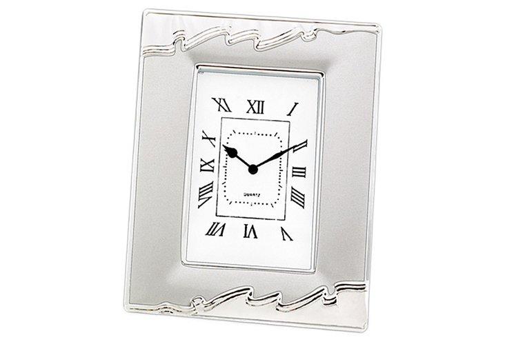 Desk Clock, Silver-Plated