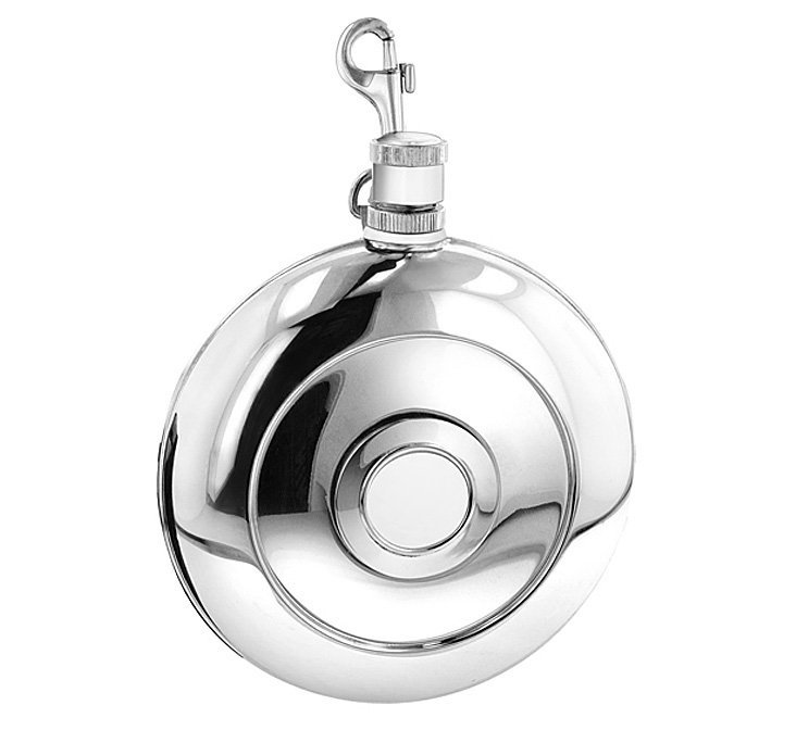 Round Flask with Clip & Cup, Silver