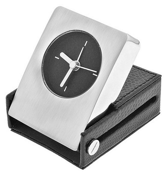 Leather Travel Alarm Clock, Black/Silver