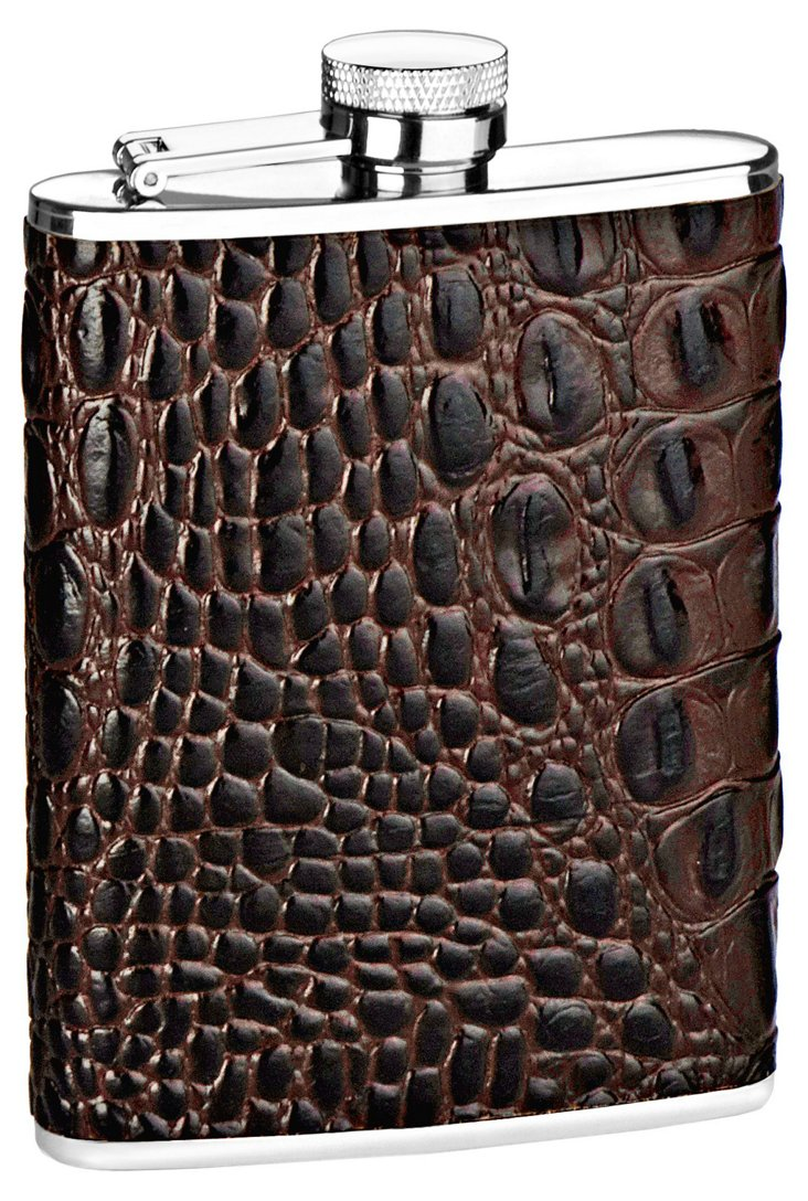 6 oz Embossed Croc Flask, Brown