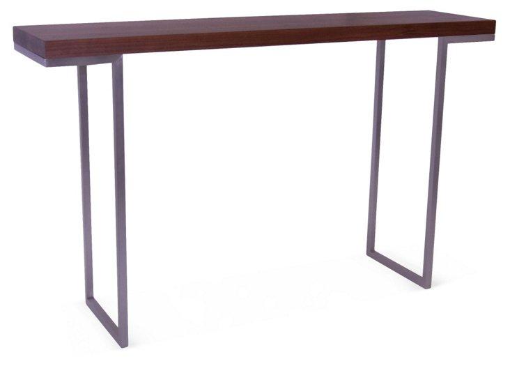 Hadley Console Table, Walnut/Silver