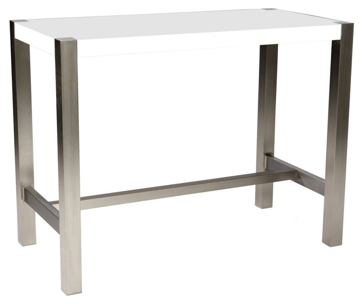 Millie Counter Table, White/Silver