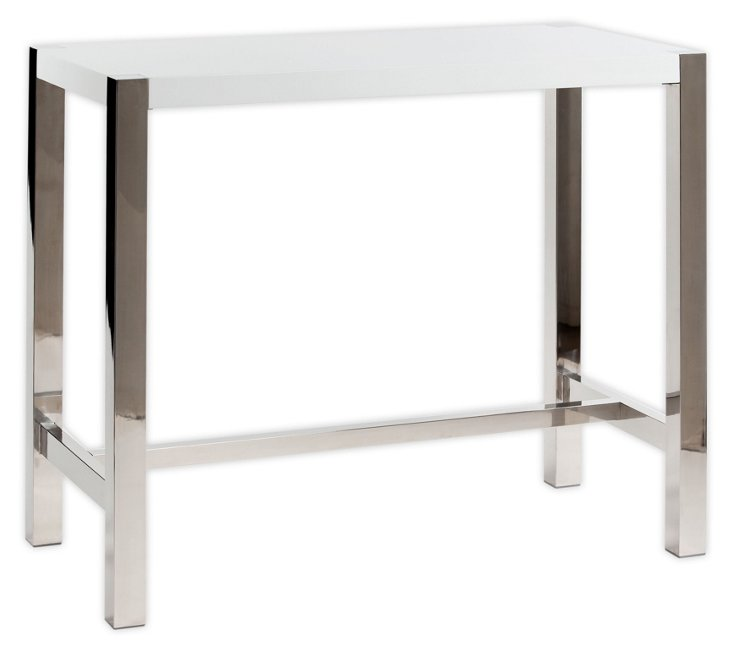 Millie Bar Table, White/Silver