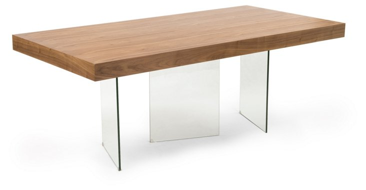 "Morton 79"" Dining Table, Walnut/Clear"