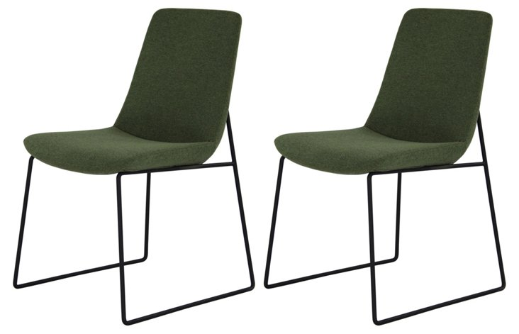 Green Ruth Dining Chairs, Pair