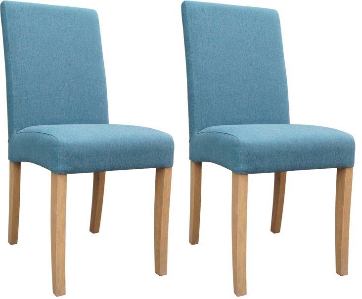 Blue Shantou Chairs, Pair