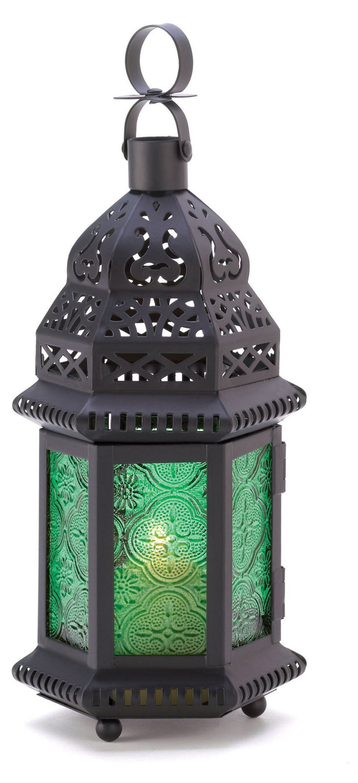 "S/4 10"" Moroccan Lanterns, Green"