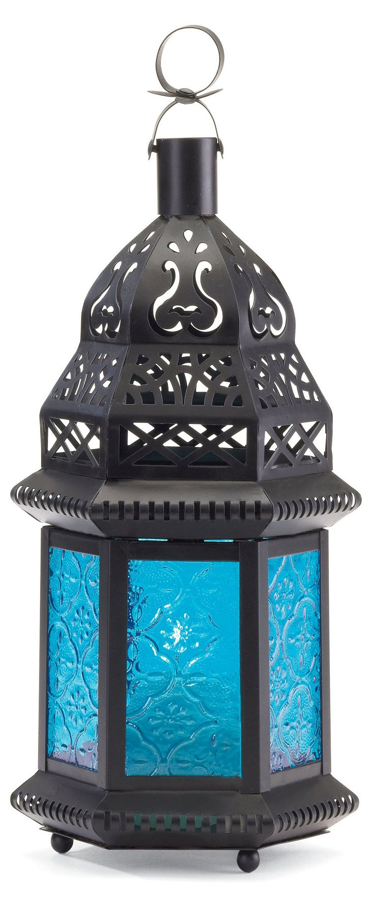 "S/4 11"" Moroccan Lanterns, Blue"