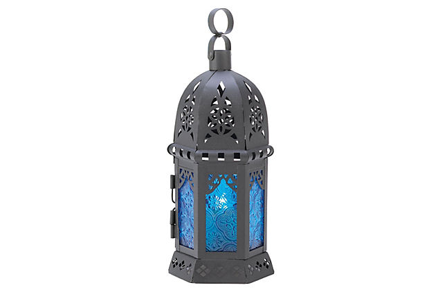 S/2 Moroccan Table Lanterns, Blue
