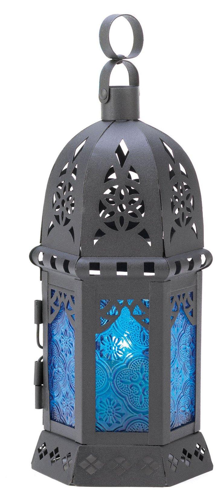 "S/2 10"" Moroccan Table Lanterns, Blue"