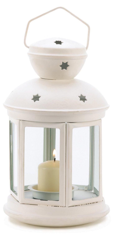 "S/2 10"" Colonial Lanterns, White"