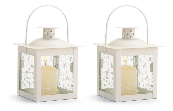 """S/2 5"""" Swirling Lanterns, White"""