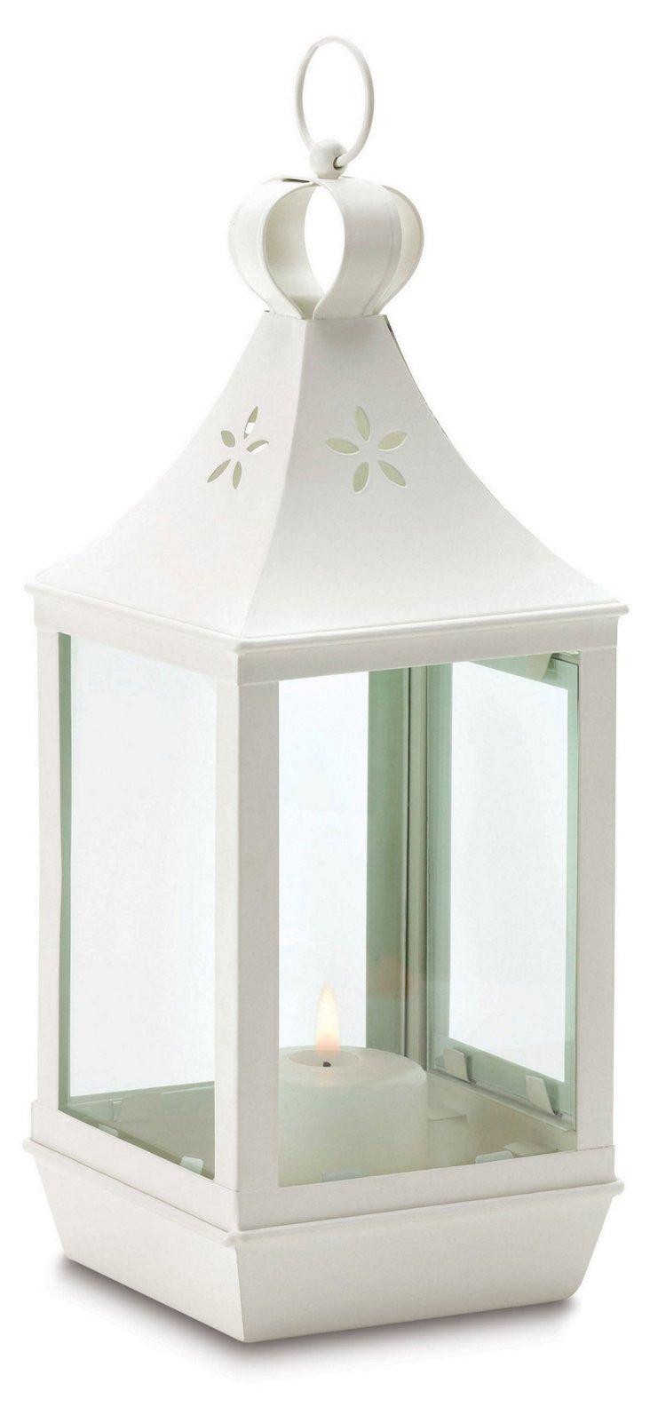 """S/2 16"""" Cutwork Garden Lanterns, White"""