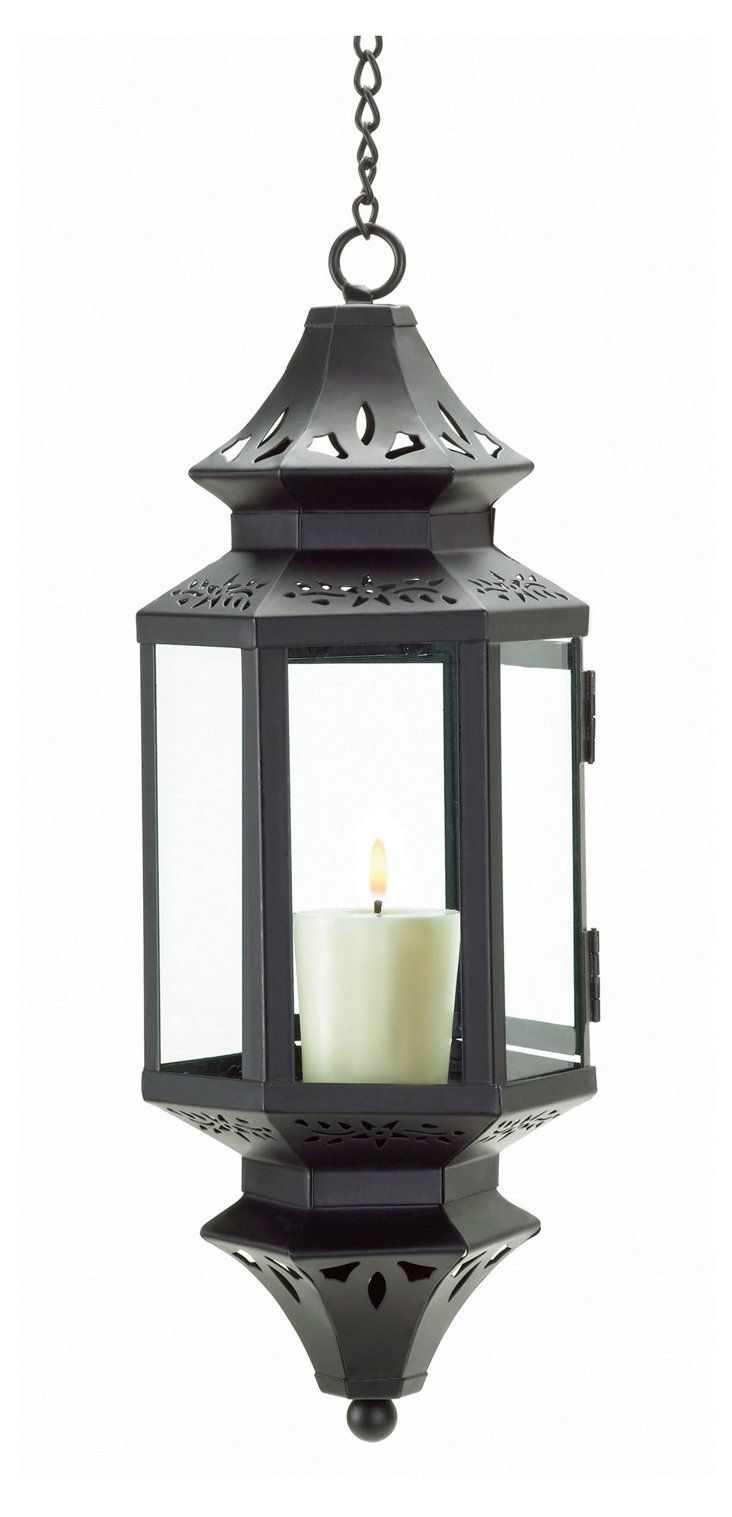 "S/2 13"" Hanging Moroccan Lanterns, Black"