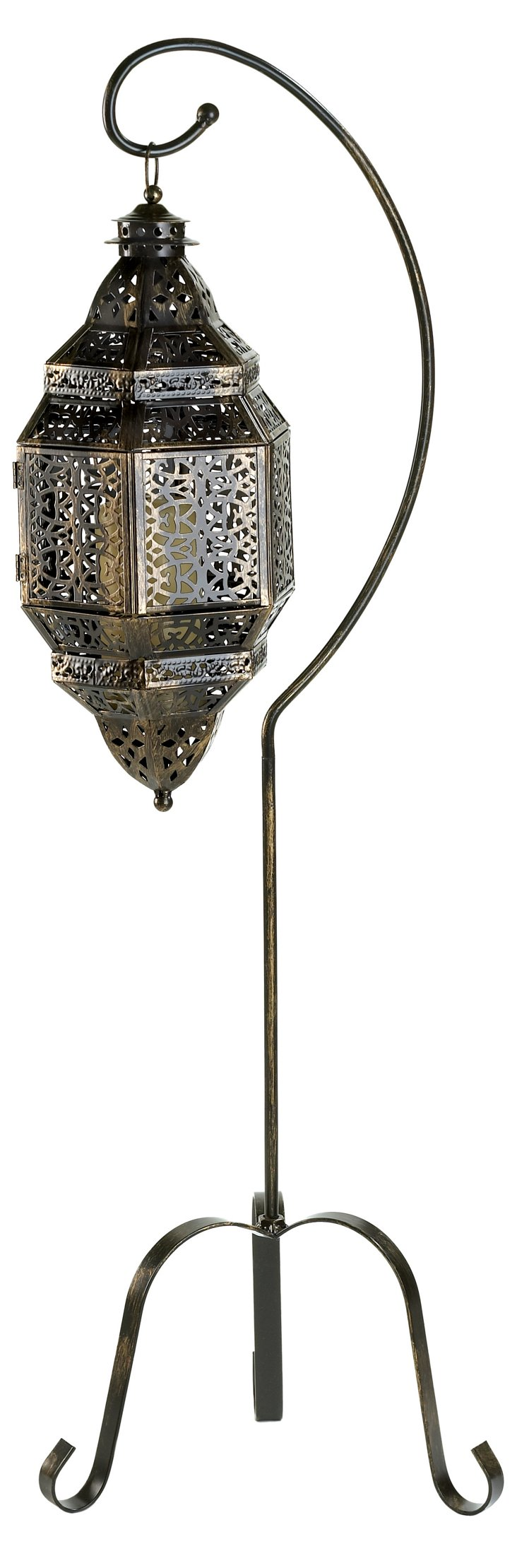 "41"" Moroccan Lantern on Stand, Gray"