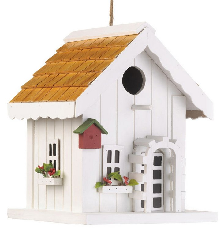 "9"" Coastal Cottage Birdhouse, White"