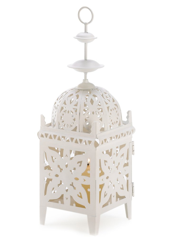 "S/4 12"" Filigree Lanterns, White"