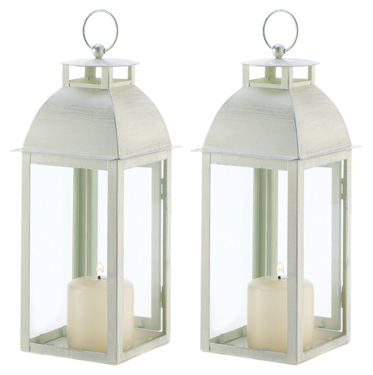 "S/2 13"" Weathered Candle Lanterns, White"