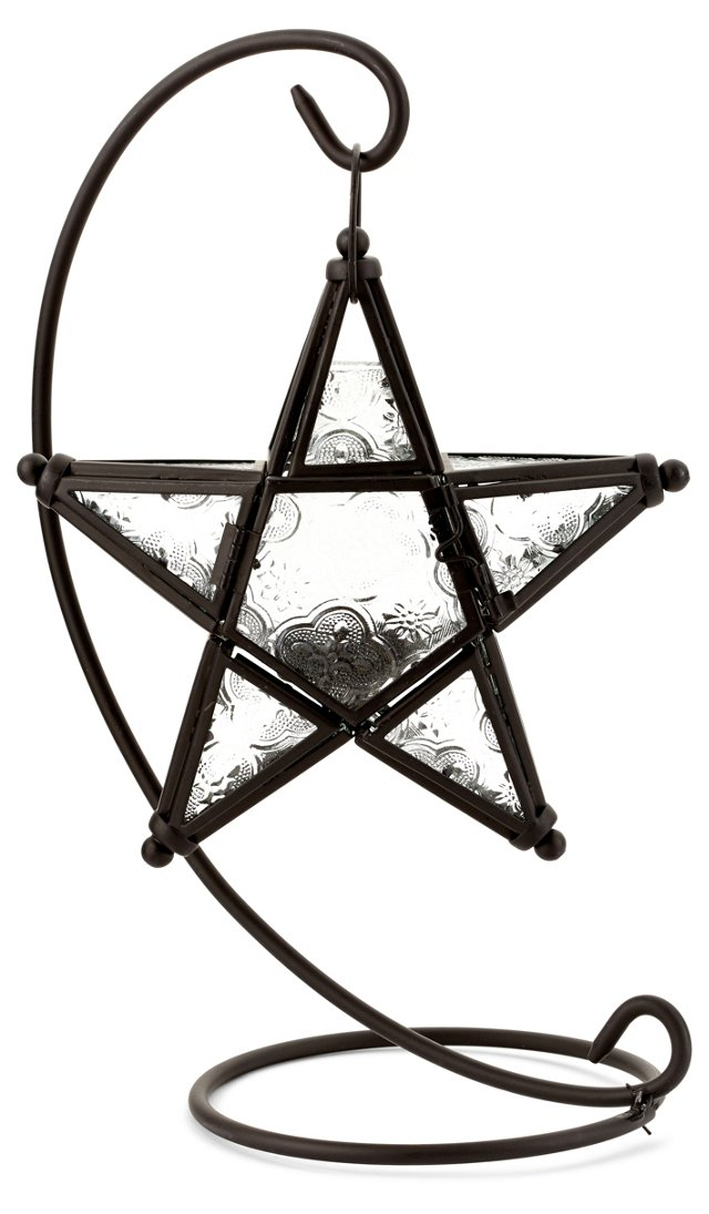 S/2 Tabletop Star Lanterns, Black