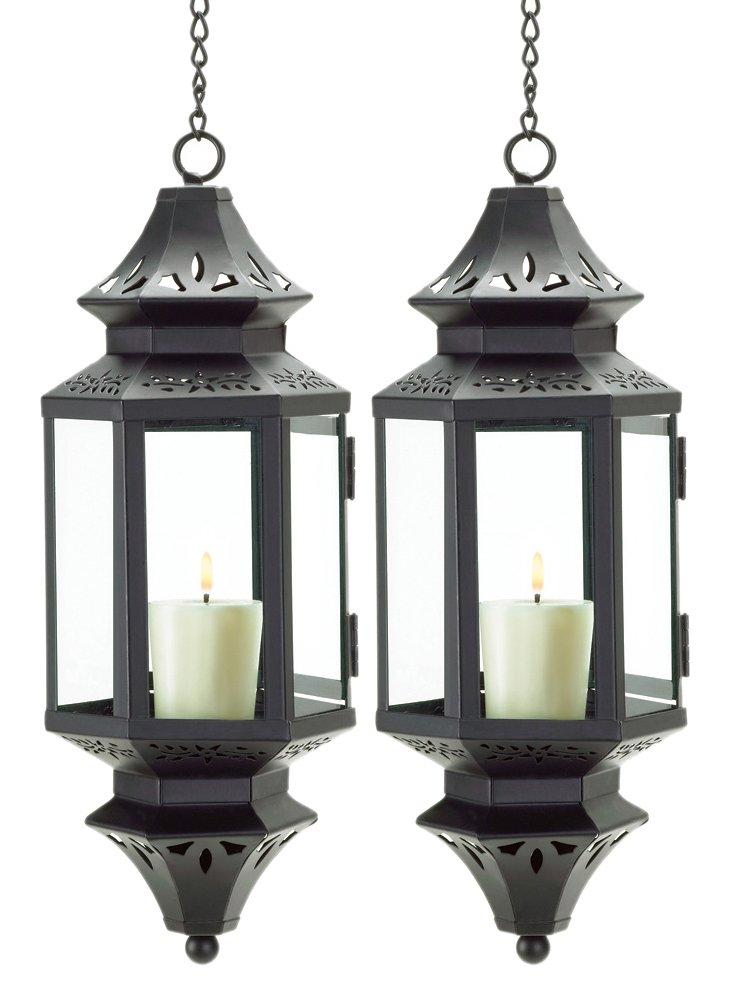 """S/2 13"""" Hanging Pendant Lanterns, Black"""