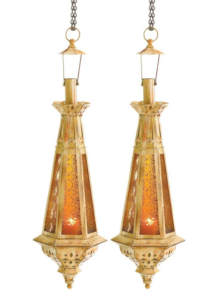 """23"""" Spire Moroccan Lanterns, Gold"""