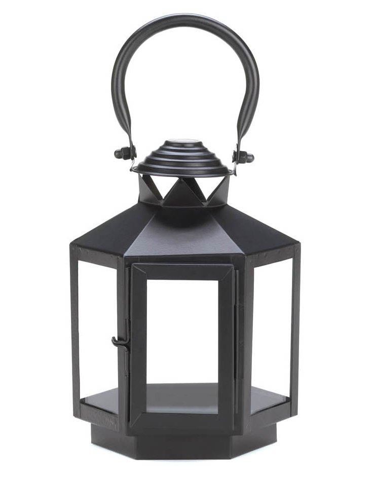 "S/2 8"" Geometric Lanterns, Black"