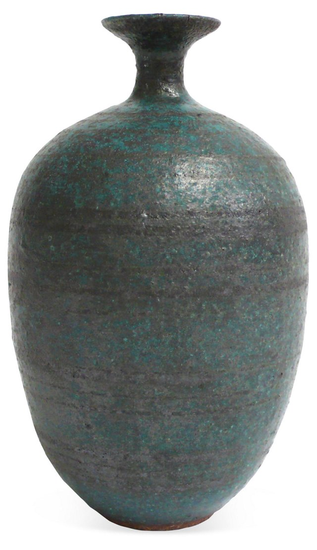 Striped Matte Blue Vase