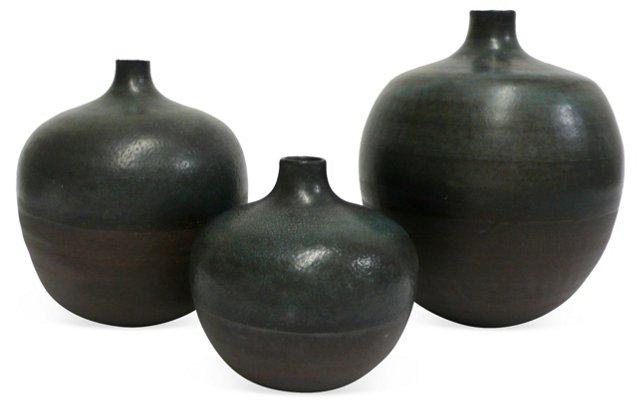 Dark Brown Stoneware Vases, Set of 3