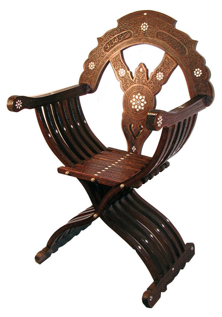Carved Walnut Campaign Chair