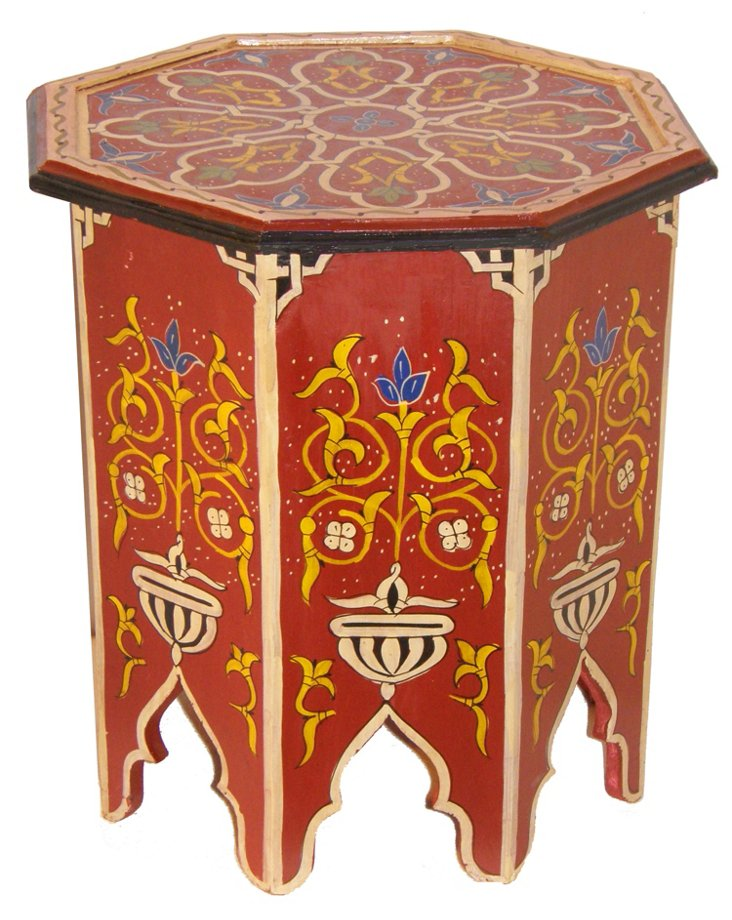 Moroccan Painted Occasional Table, Rust