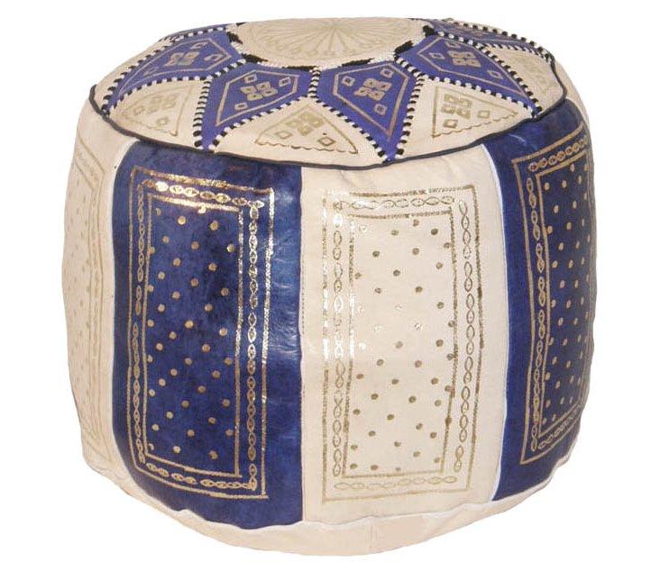 Moroccan Pouf, Cream/Blue