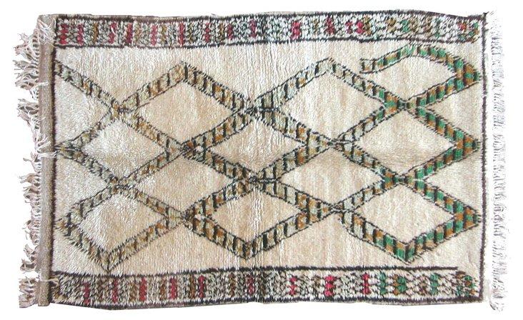 "5' x 3'4"" Taroudant Moroccan Rug, Cream"